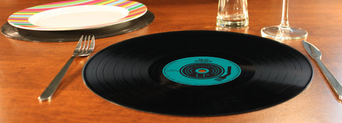 "12"" Set of 4 Retro Record Silicone Placemats"