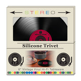 "6"" Set of 4 Retro Record Silicone Trivets"