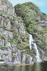 Western Brook Pond Waterfall, watercolour by Karen Richardson