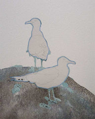 Painting Seagulls, step 2, by Karen Richardson