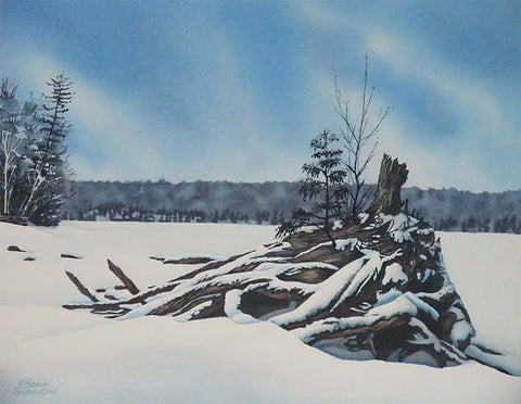 Winter on Lake Kashwakamak, watercolour by Karen Richardson