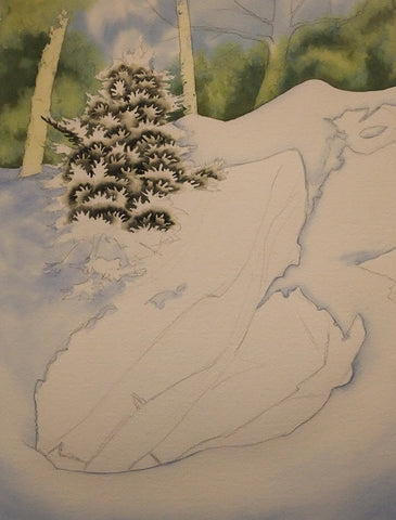 Snow and Stone, work in progress by Karen Richardson