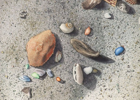 Seaside Treasures (detail), watercolour by Karen Richardson