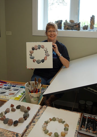 Karen Richardson with Unbroken stone circle watercolour in progress