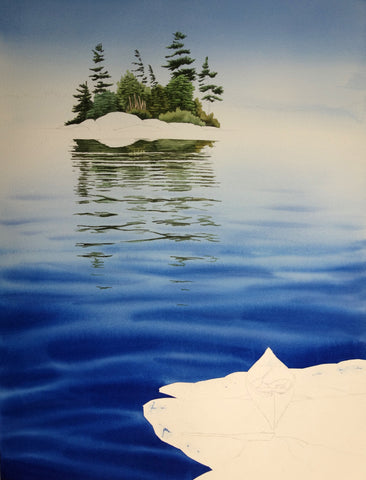Whispering Waters watercolour in progress by Karen Richardson