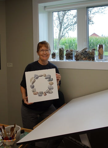 Karen Richardson with her stone circle watercolour in progress