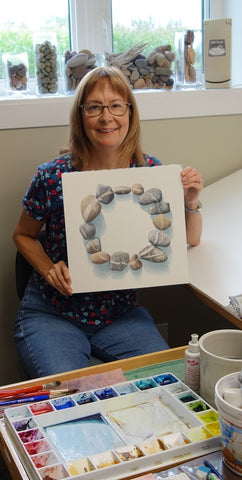 Karen Richardson with completed stone circle watercolour