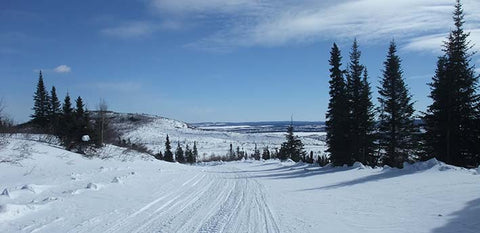 Wide snowmobile trail near Labrador City