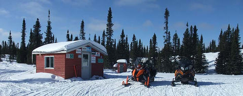 Warm up hut on snowmobile trail near Labrador City.