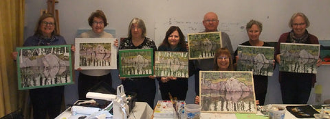 Karen Richardson with her students in a Northern Reflections watercolour class