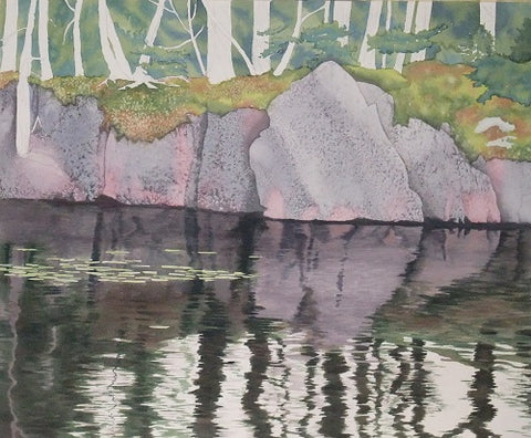 Northern Reflections, watercolour in progress by Karen Richardson.