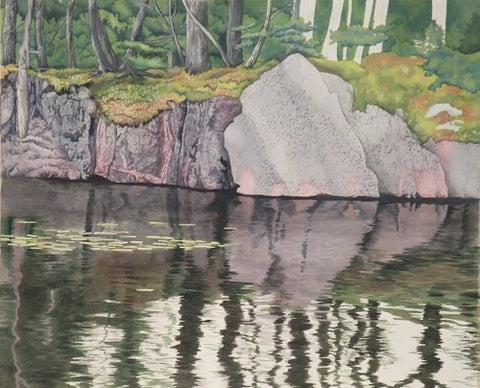 Northern Reflections, watercolour in progress by Karen Richardson