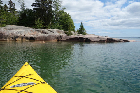 Rainbow Falls Provincial Park from my kayak, photo by Karen Richardson
