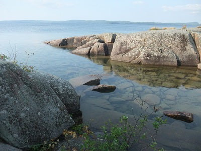 Rock point, Rainbow Falls Provincial Park at Rossport.