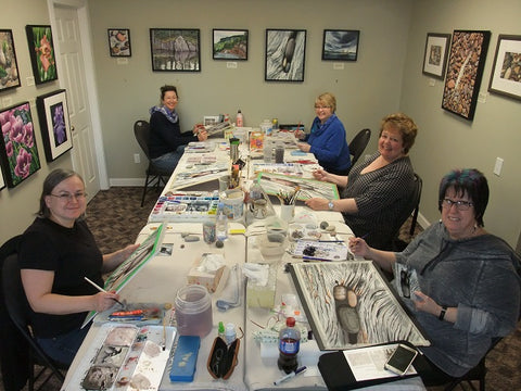 Weathered Wood and Stones watercolour class by Karen Richardson