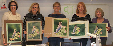 Cedar Waxwing watercolour class by Karen Richardson