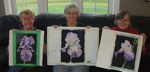 Students from Karen Richardson's 'Iris With Dew' 3-Day Workshop