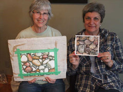 Averill and Joanne with their pebble paintings