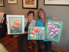 Namaji and Judy painted spring flowers
