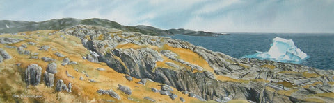 "Where Ice Meets Rock, watercolour 9 x 29"" (SOLD)"