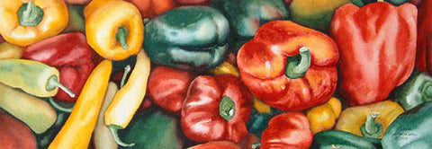 "Pepper Power, 5 x 15"", watercolour framed with glass (SOLD)"