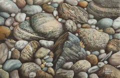 "Rocks Revisited, 7 x 11"", watercolour framed with glass (SOLD)"