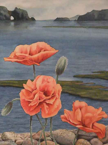 "Poppies by the Sea, 12 x 9"", watercolour on panel by Karen Richardson"