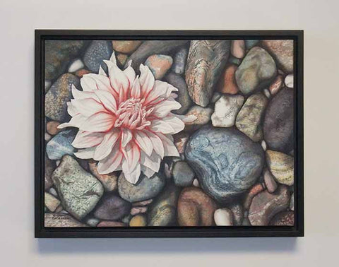 A Dahlia Down, watercolour painting by Karen Richardson (with frame)
