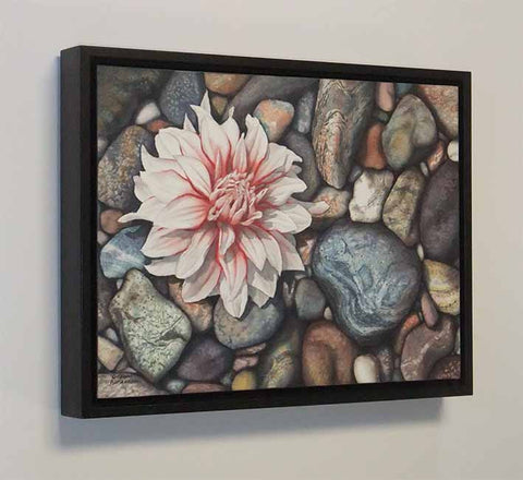 A Dahlia Down, watercolour painting by Karen Richardson (side view with frame)