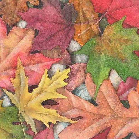 "Leaves Electric, 6 x 6"", watercolour on panel (SOLD)"