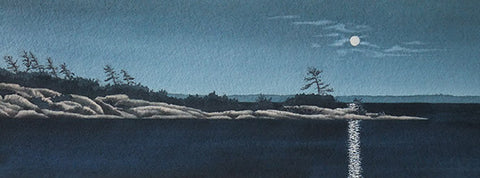 "Midnight on Georgian Bay, 5 x 14"" watercolour with mat (SOLD)"