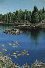 "Northern Beaver Pond, 11 x 7"" watercolour with mat (SOLD)"