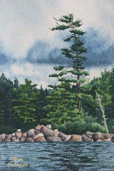 "Northern Shore, 6 x 4"", watercolour framed with glass (SOLD)"