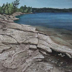"Rocky Shore, 9 x 9"" watercolour with mat (SOLD)"