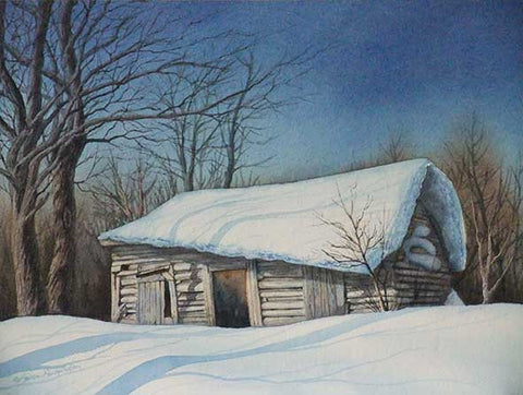 "Cabin in the Snow (watercolour on panel, 9 x 12"")"
