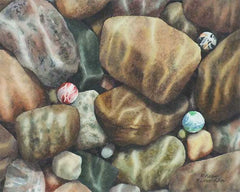 "I Think I Lost My Marbles, 8 x 10"", watercolour on panel (SOLD)"