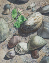 "Leaves on the Beach I, 14 x 11"", watercolour on panel"
