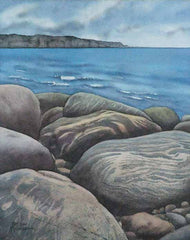 "Newfoundland Beach Rocks, watercolour on panel, 10 x 8"" (SOLD)"