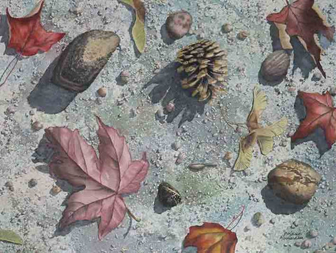 Pinecone Journey, watercolour by Karen Richardson