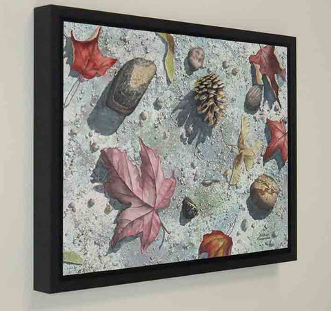 Pinecone Journey (framed), watercolour by Karen Richardson