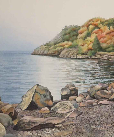 "Autumn on Lake Superior, 12 x 10"" watercolour, unframed (SOLD)"