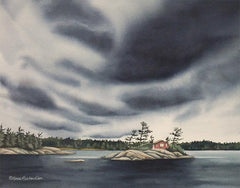 "Island in the Storm (watercolour on panel, 11 x 14"") NEW"