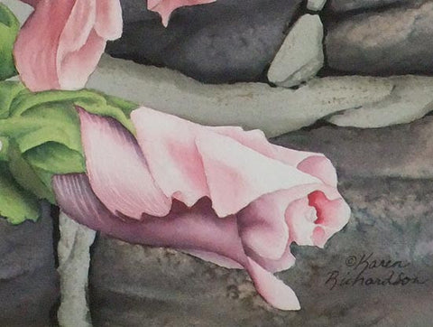 Hollyhock and Stone (detail), watercolour by Karen Richardson