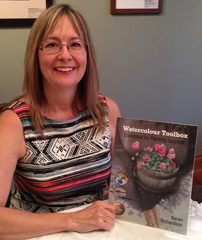 Karen Richardson with her book Watercolour Toolbox