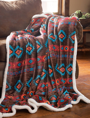 Wrangler Southwest Horizon Plush Sherpa Throw