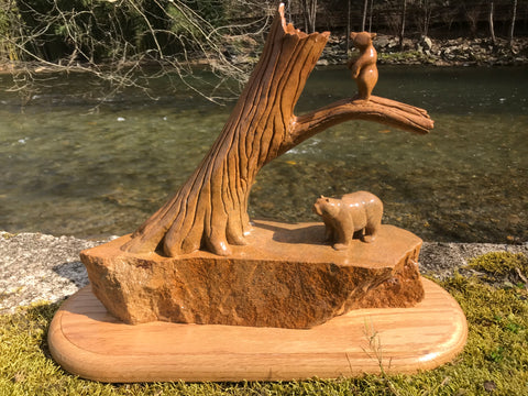 Mama Bear and Cubs stone carving by David Parker