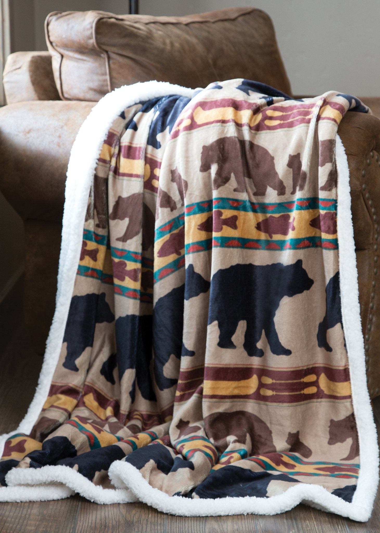 Bear Family Plush Sherpa Throw