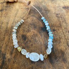 milky white moonstone and her cousin aqua.  bracelet