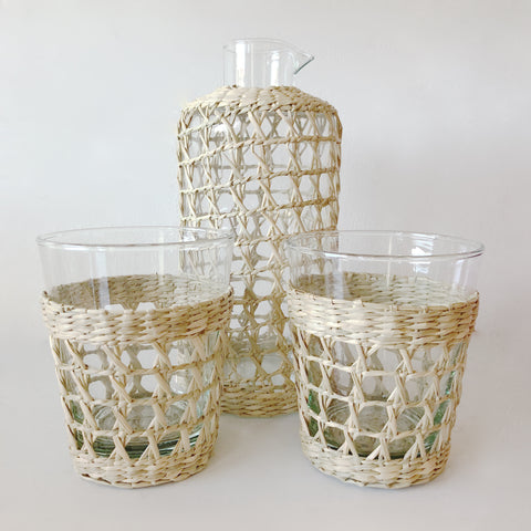 indochine weaving pitcher & set of 2 glasses