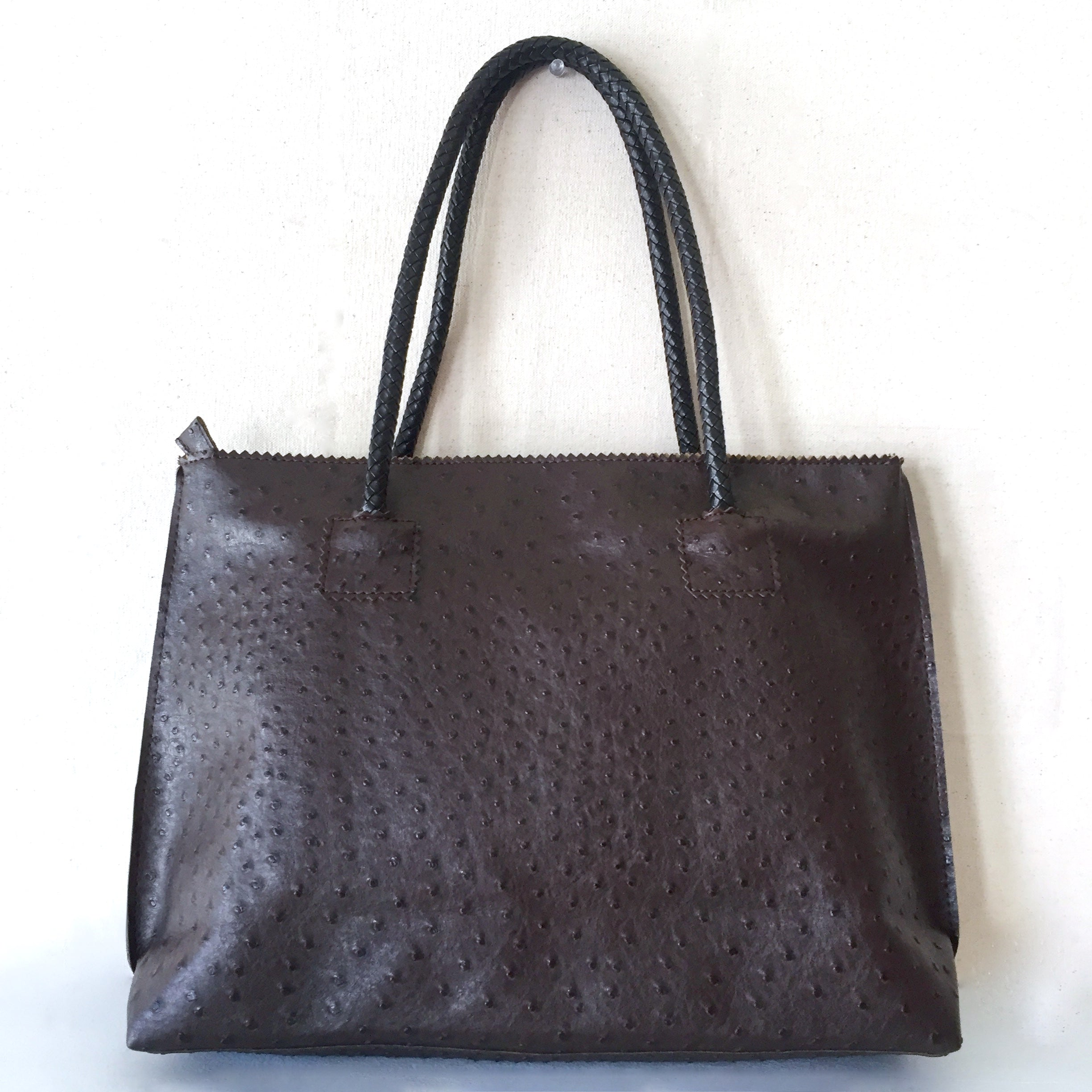 Dark Chocolate Vegan Ostrich Tote Bag